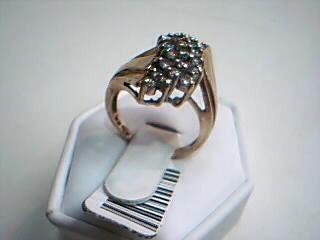 Lady's Diamond Cluster Ring 25 Diamonds .75 Carat T.W. 10K Yellow Gold 5.2g