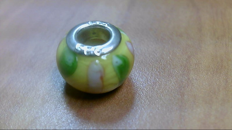 Stripe Yellow Green and Pink Glass Bead 925 Silver