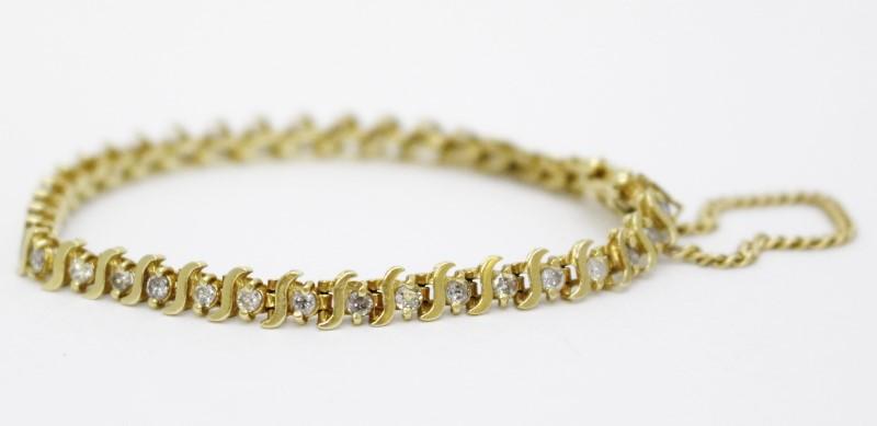 14k Yellow Gold Round Brilliant Cut Diamond Bracelet