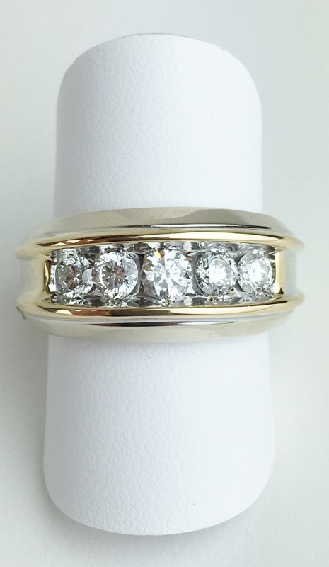 Gent's Gold-Diamond Wedding Band 5 Diamonds .95 Carat T.W. 14K White Gold