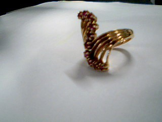 Synthetic Ruby Lady's Stone Ring 14K Yellow Gold 6.6g