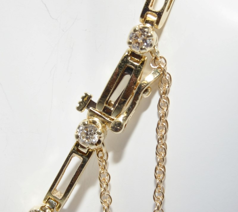 "7.5"" 14K Yellow Gold Round Diamond & Bar Tennis Bracelet w/ Safety Chain"