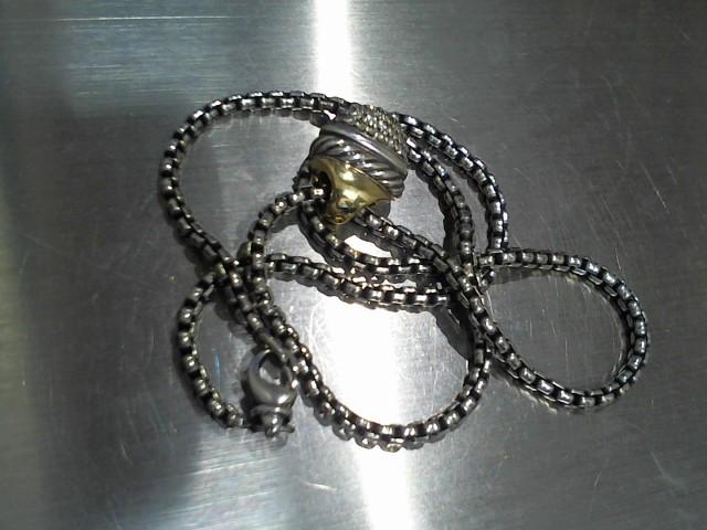Diamond Necklace 5 Diamonds .05 Carat T.W. 925 Silver 17g