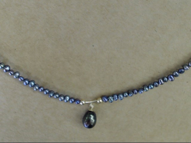 """ESTATE BLACK PEARL DROP CHOKER NECKLACE REAL 14K YELLOW GOLD 16.5"""""""