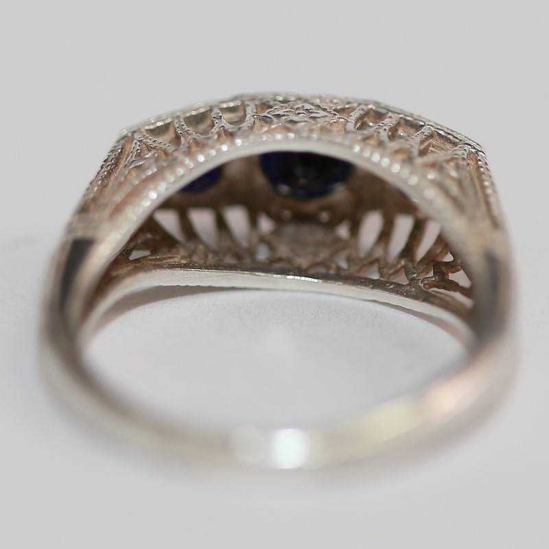 Vintage Inspired Cathedral Set Sapphire and Silver Ring Size 5.75
