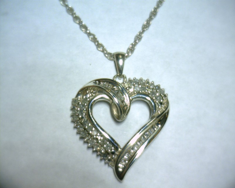 "17"" Diamond Necklace 36 Diamonds .36 Carat T.W. 925 Silver 4.2dwt"