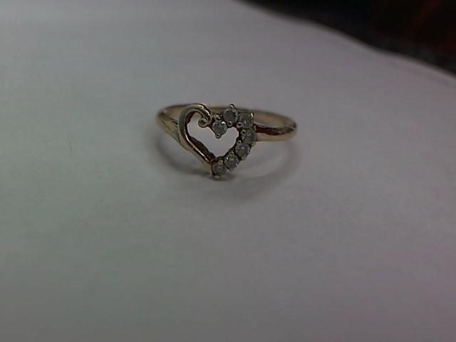 White Stone Lady's Stone Ring 10K Yellow Gold 1.6g Size:6.5