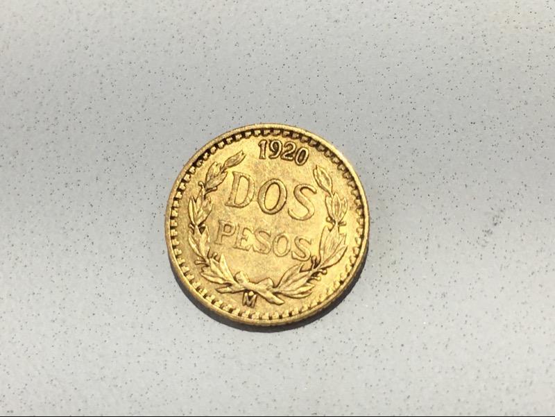 1920 Mexico Dos (Two) Pesos Gold Coin