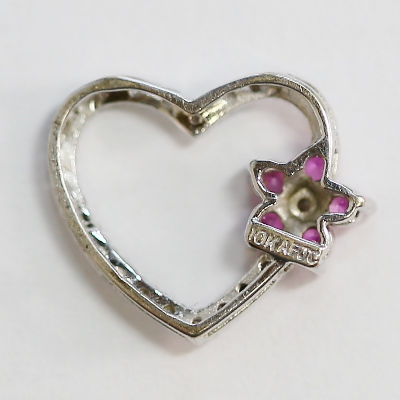 10K White Gold Pink Stone Flower & Diamond Heart Shaped Pendant