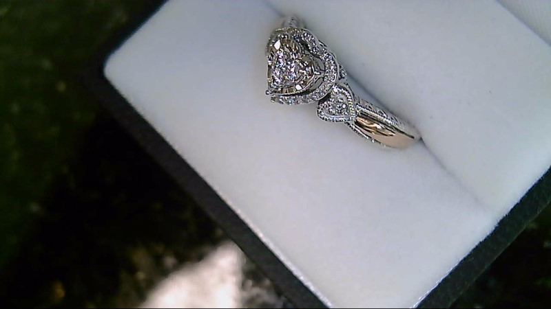 lady's sterling silver 925 with 10kyg accent diamond heart ring