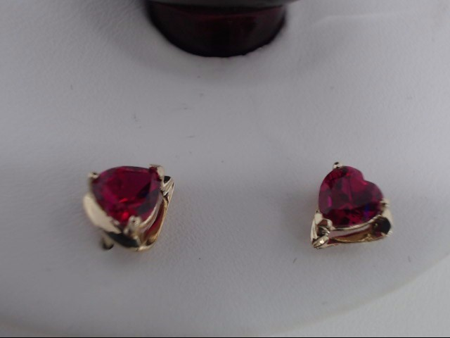 Red Stone Gold-Stone Earrings 10K Yellow Gold 0.9g