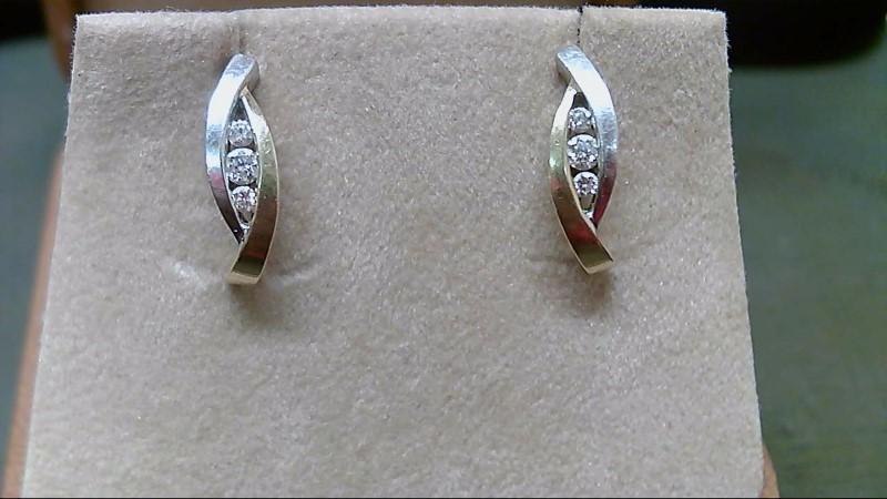Gold-Diamond Earrings 6 Diamonds .32 Carat T.W. 14K 2 Tone Gold 2.7g