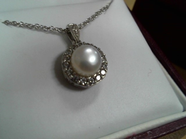 Synthetic Pearl Stone Necklace 925 Silver 2.4g