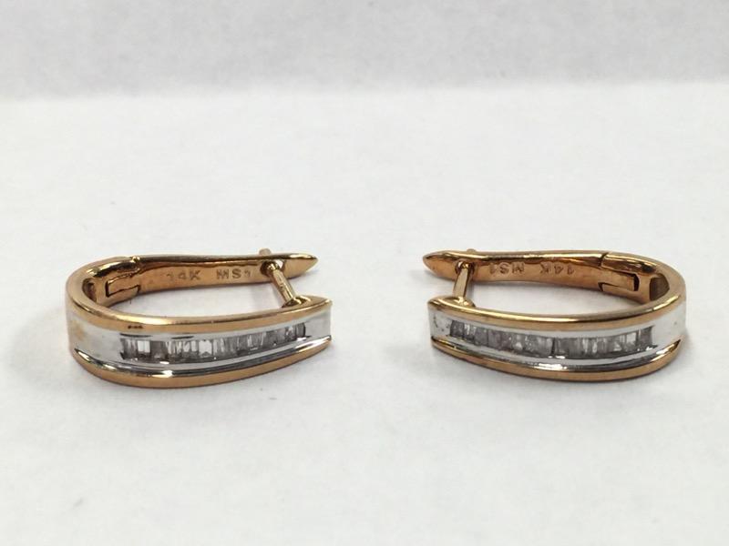 Gold-Diamond Earrings 30 Diamonds .30 Carat T.W. 14K Yellow Gold 2.5dwt