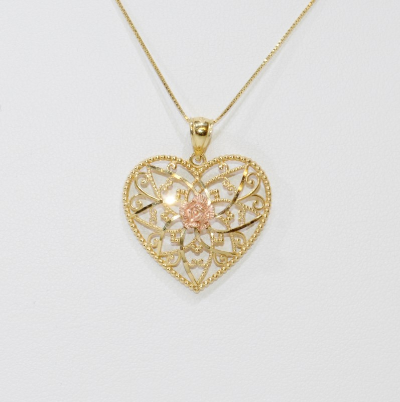 "14K Two-Tone Yellow & Rose Gold Filigree Heart Pendant 18"" Box Chain"