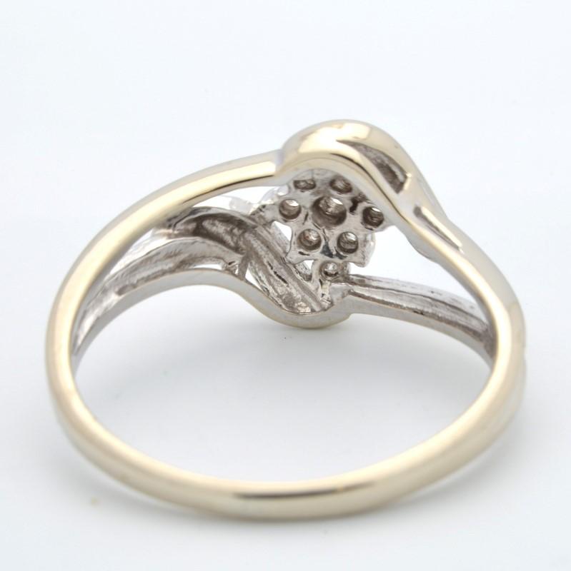DIAMOND CLUSTER RING SOLID 14K WHITE GOLD FLOWER SNOWFLAKE SZ 5.75