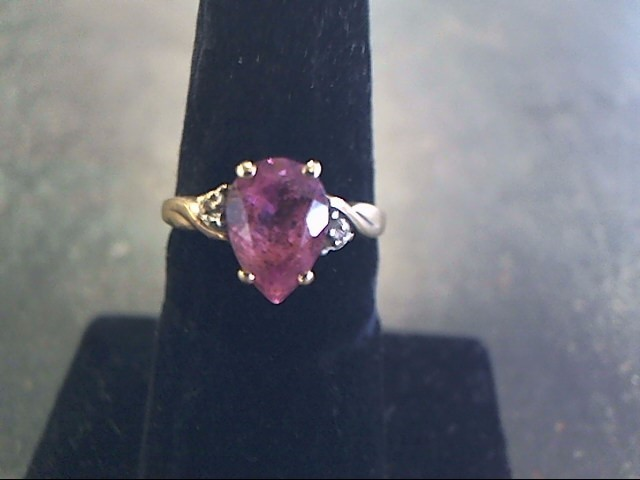 Synthetic Almandite Garnet Lady's Stone Ring 10K Yellow Gold 1.6dwt