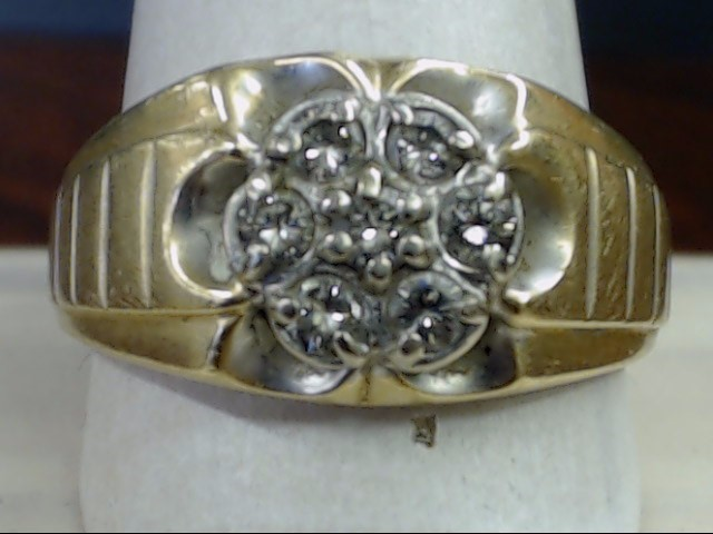 VINTAGE NATURAL DIAMOND CLUSTER RING SOLID REAL 14K GOLD MEN SIZE 12
