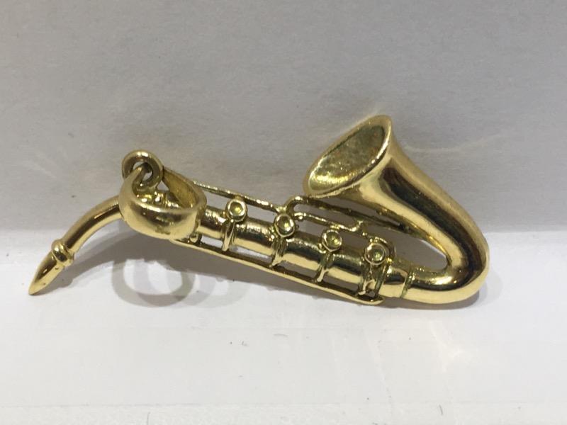 14K Yellow Gold 3D Saxophone (Woodwind) Charm/Pendant