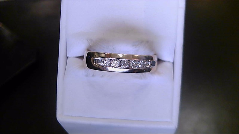 Gent's Gold-Diamond Wedding Band 6 Diamonds .30 Carat T.W. 14K White Gold 8.2g