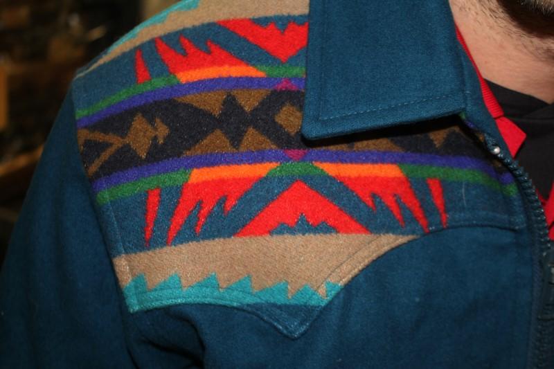 RARE Vtg Pendleton Wool Leather Jacket Sz Small Native American Indian Blanket