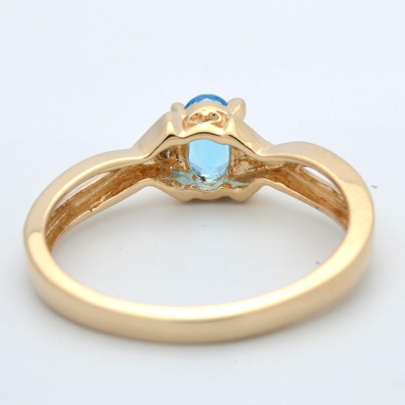 ESTATE DIAMOND BLUE TOPAZ RING SOLID 14K GOLD OVAL CUT FINE SIZE 6.5
