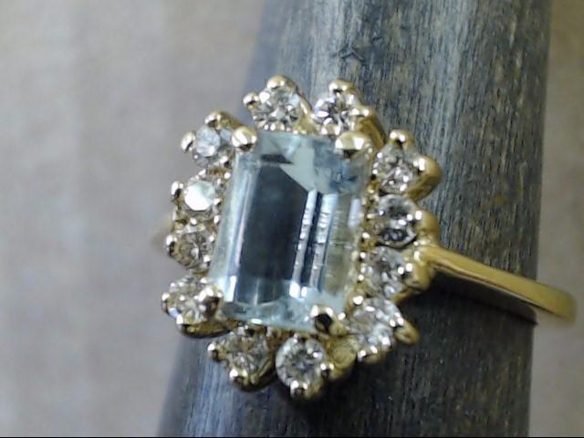 VINTAGE AQUAMARINE BLUE TOPAZ DIAMOND RING SOLID 14K GOLD SZ 5.25