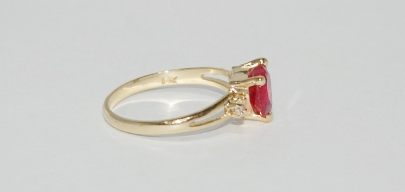 Synthetic Ruby Lady's Stone & Diamond Ring 2 Diamonds .02 Carat