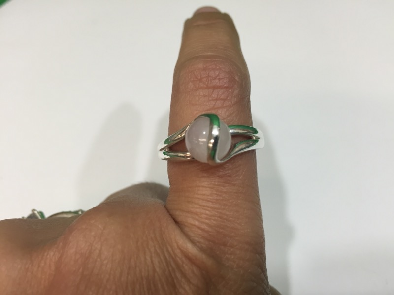 Pink Stone Lady's Silver & Stone Ring 925 Silver 3.9g Size:8