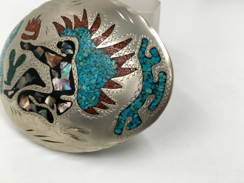 Turquoise Red Coral & MOP Sterling Silver Belt Buckle 65mm x 85mm
