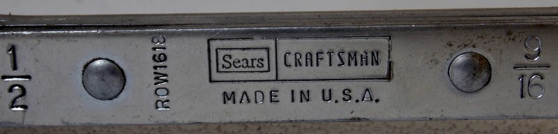 """(SEARS) CRAFTSMAN 6 POINT OFFSET RATCHETING WRENCH 1/2""""-9/16"""", ROW1618"""