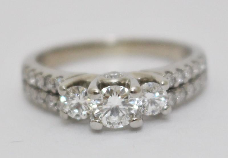 14K White Gold Double Row Diamond Shank 3-Stone Engagement Ring sz 6.5