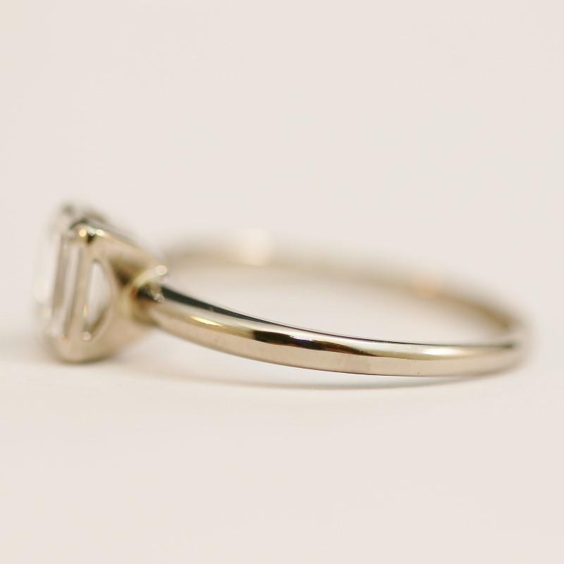 14K White Gold VS-1 Emerald Cut Diamond Solitaire Ring Size 7.25