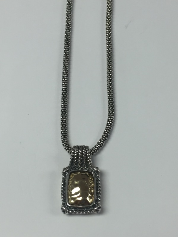 Sterling Silver and 14K Yellow Gold Rope Detail Necklace