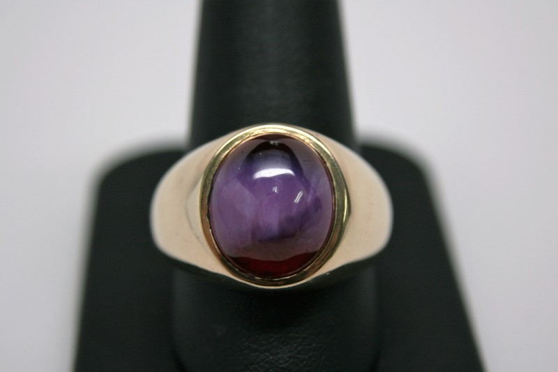 GENT'S STAR RUBY RING 14K YELLOW GOLD