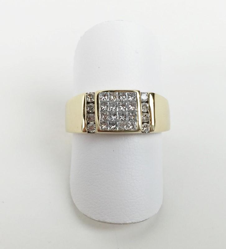 Gent's Diamond Cluster Ring 24 Diamonds .88 Carat T.W. 10K Yellow Gold 6.62g