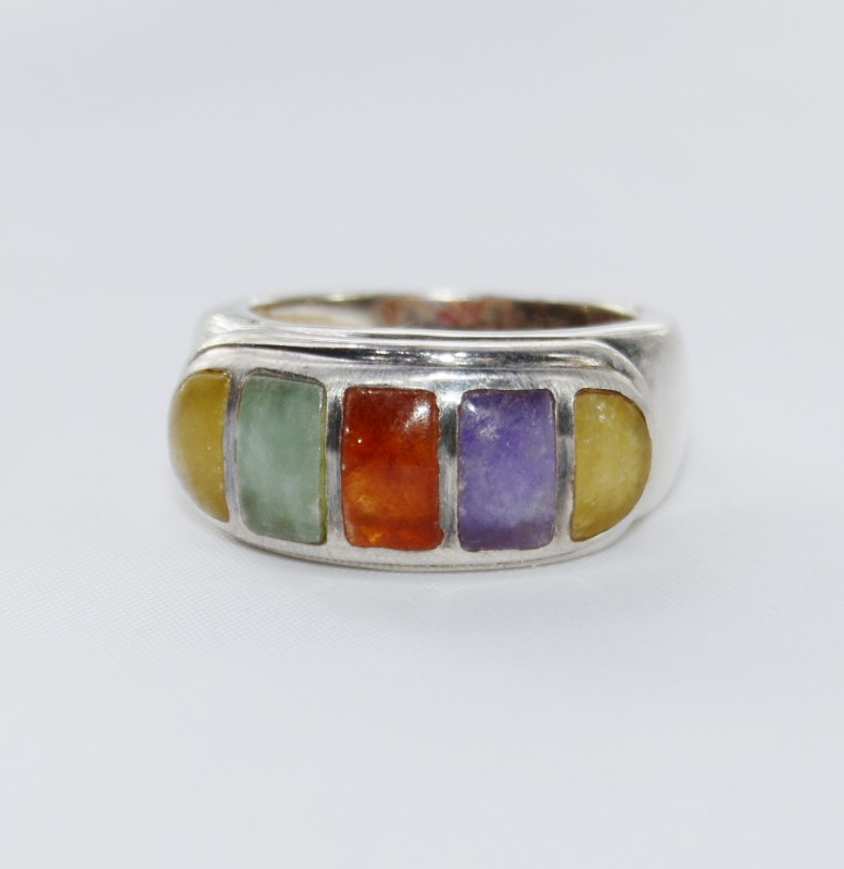 Sterling Silver Multi-Colored Jade Purple, Green, Yellow, Red Size 6
