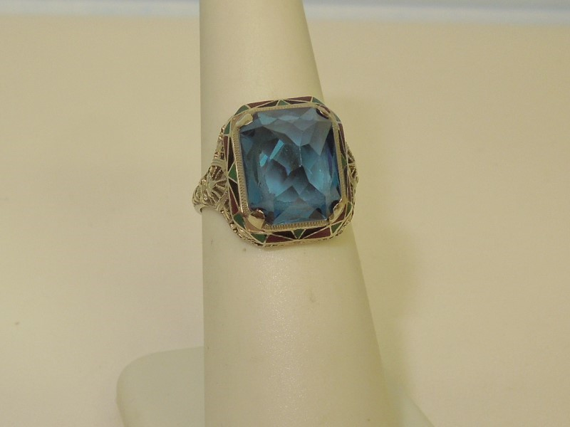 Synthetic Blue Zircon Lady's Stone Ring 14K White Gold 3.4g