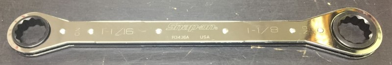 "SNAP ON 12-Point 1-1/16""–1-1/8"" SAE Ratcheting Box Wrench R3436A"