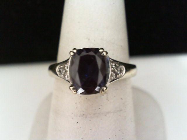 Synthetic Alexandrite Lady's Stone & Diamond Ring 6 Diamonds .06 Carat T.W.