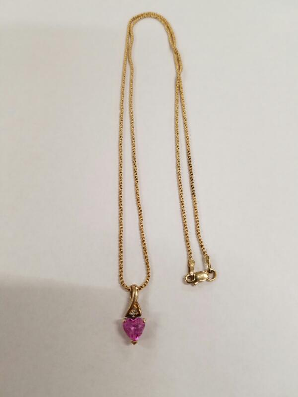 Pink Stone Stone Necklace 14K Yellow Gold 3.8g