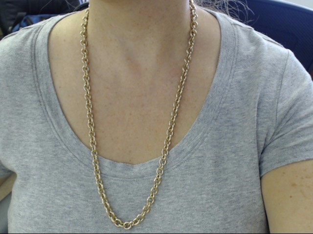 """ROLO CABLE LINK NECKLACE CHAIN SOLID 10K GOLD HEAVY 77g LONG 28"""""""