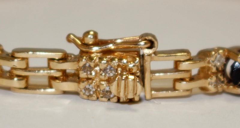 Purple Stone Gold-Diamond & Stone Bracelet 32 Diamonds .64 Carat T.W.