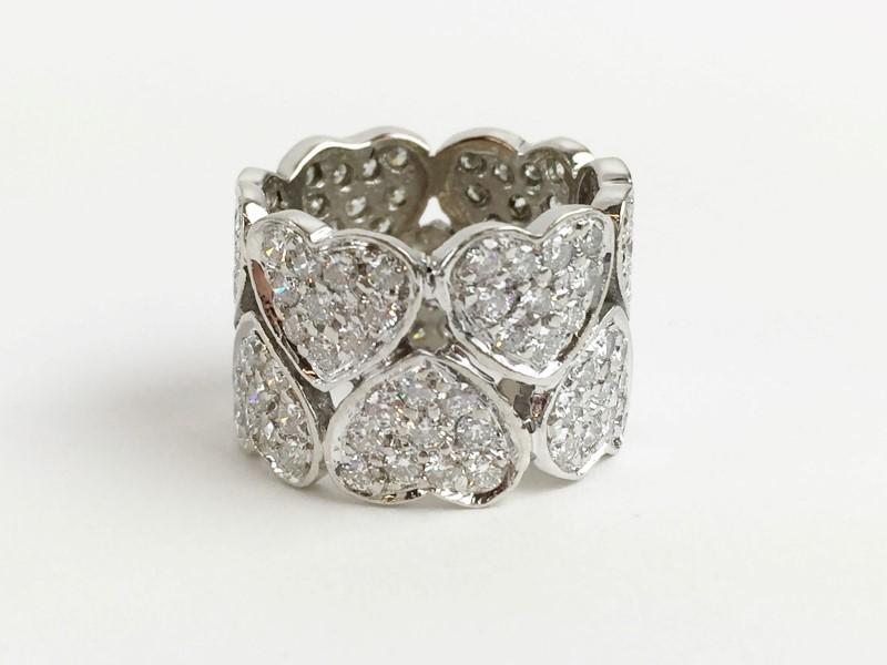 Lady's Diamond Pave Heart Ring 3.60 Carat T.W. 14K White Gold 8.35g