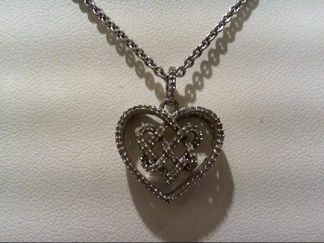 Silver-Diamond Pendant 80 Diamonds .400 Carat T.W. 925 Silver 7.4g