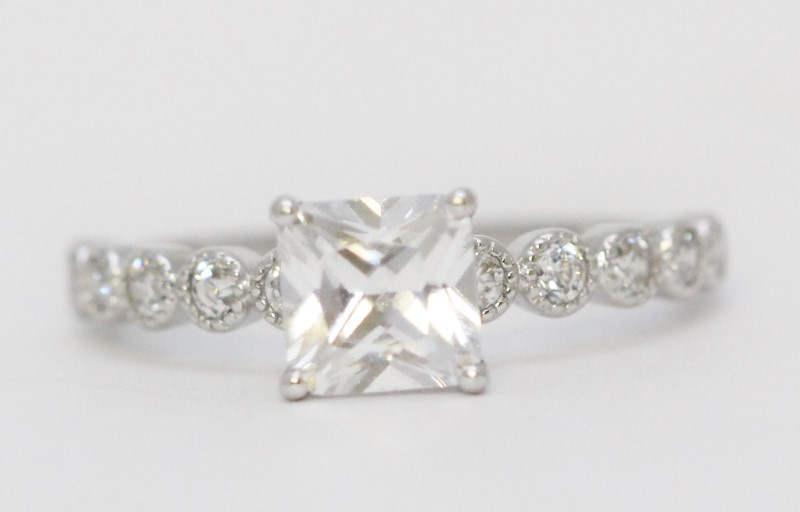Sterling Silver Princess Cut Cubic Zirconia Engagement Ring w/ Side Accents