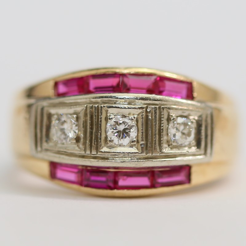 14K Y/G Round Brilliant Diamonds and Emerald Cut Rubys Ring Size 8