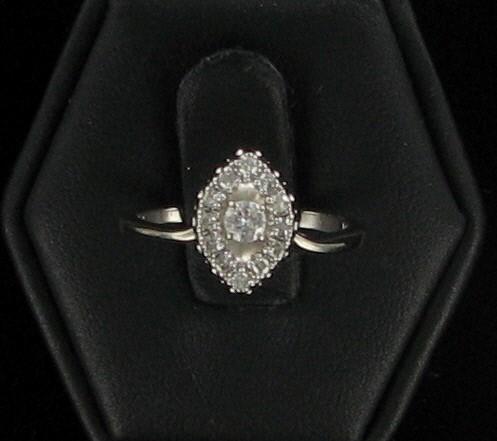 Lady's Diamond Fashion Ring 13 Diamonds .39 Carat T.W. 14K White Gold 2dwt