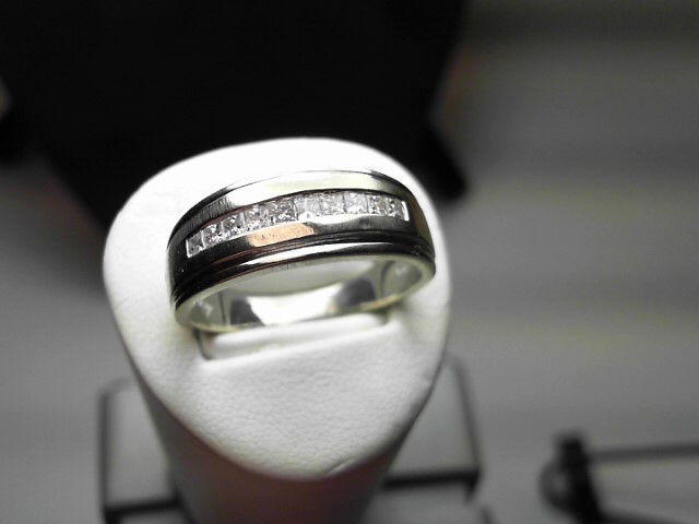 Gent's Diamond Fashion Ring 10 Diamonds .60 Carat T.W. 14K White Gold 6.4g