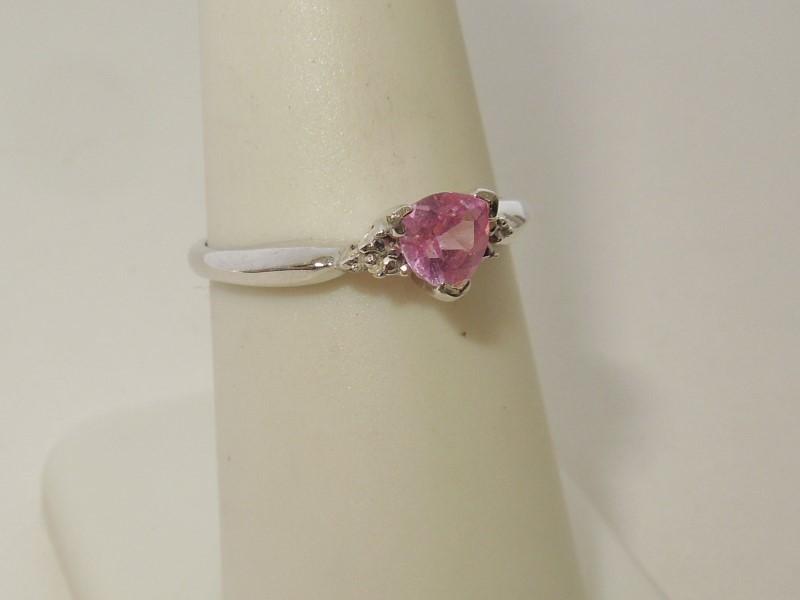 Pink Stone Lady's Stone Ring 10K White Gold 1.3g